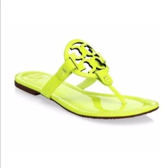c02c58754b0 Tory Burch Miller Patent Flourescent Yellow Sandal